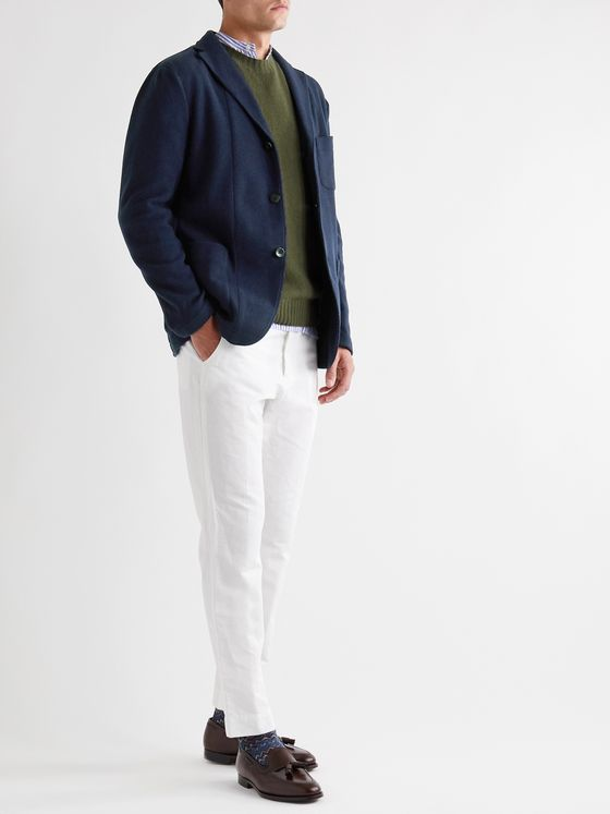 Boglioli Navy Cotton-Blend Jersey Blazer