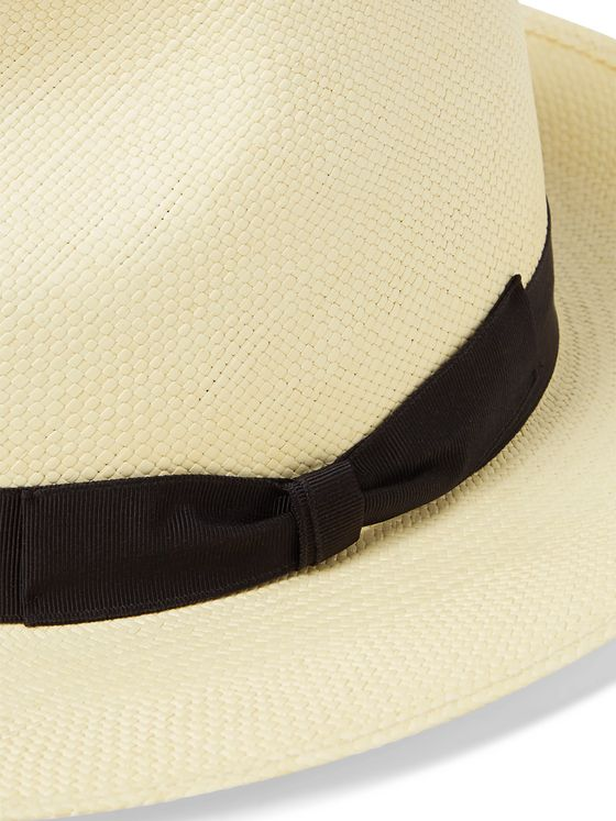 Anderson & Sheppard Grosgrain-Trimmed Straw Panama Hat
