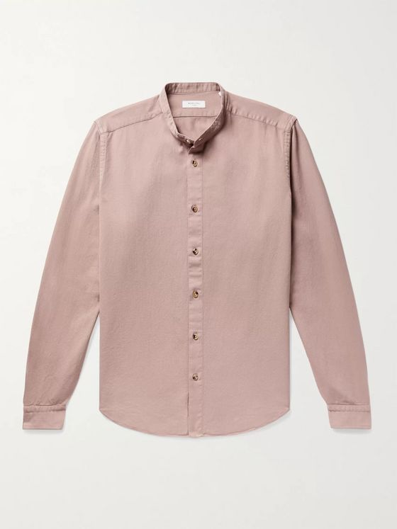 Boglioli Grandad-Collar Cotton Shirt