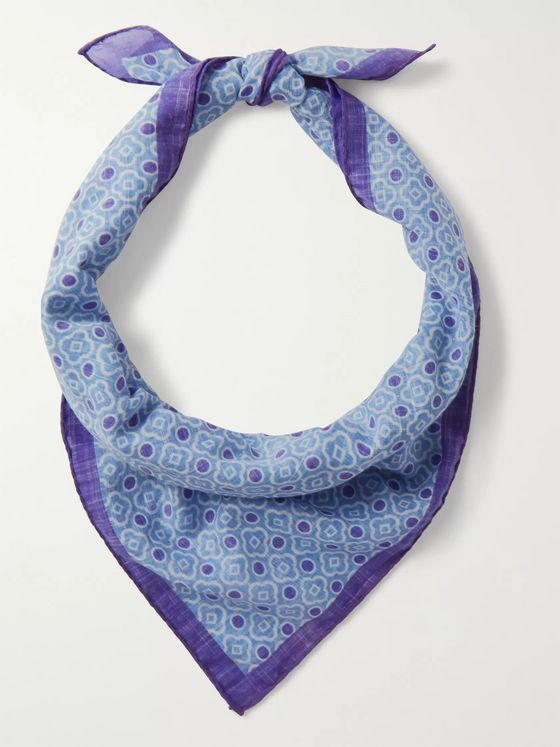 Anderson & Sheppard Printed Cotton-Voile Bandana