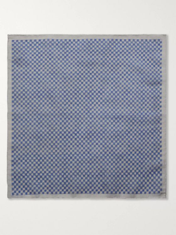 Anderson & Sheppard Checkerboard Cotton Pocket Square