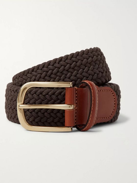 Anderson & Sheppard 3.5cm Leather-Trimmed Woven Elastic Belt
