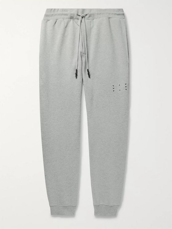 MCQ Tapered Appliquéd Mélange Loopback Cotton-Jersey Sweatpants