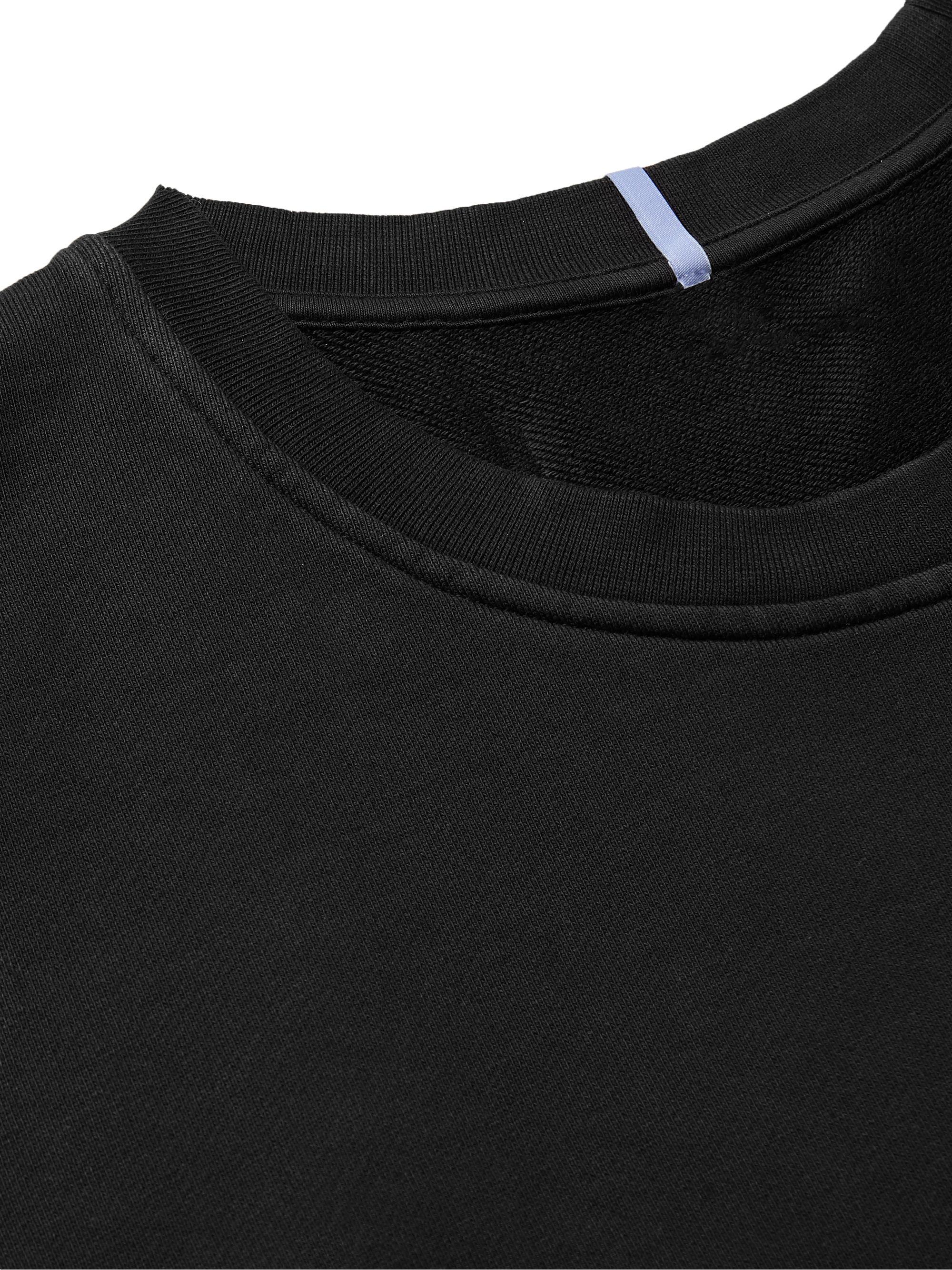 Black Appliquéd Embroidered Cotton-jersey Sweatshirt   Mcq