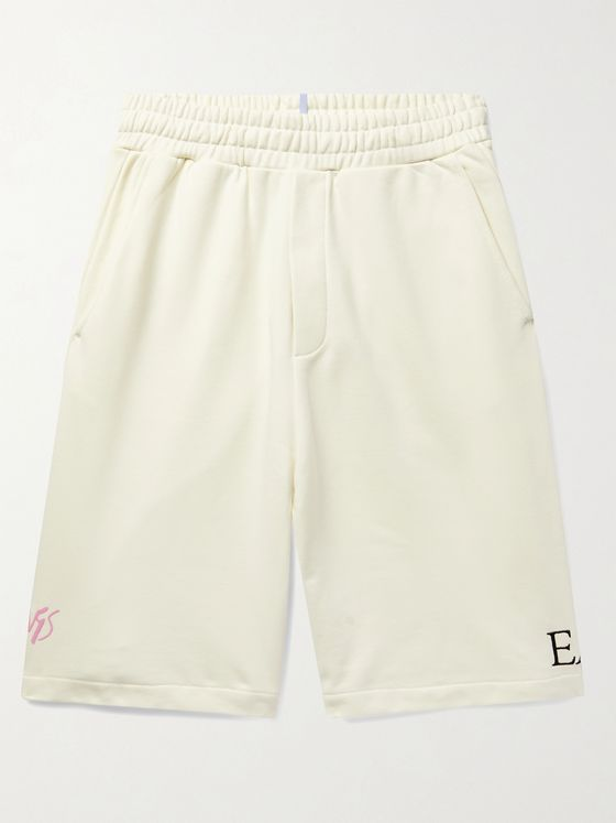 MCQ Appliquéd Embroidered Loopback Cotton-Jersey Shorts