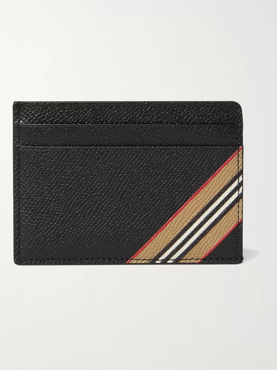 Burberry Striped Full-Grain Leather Cardholder