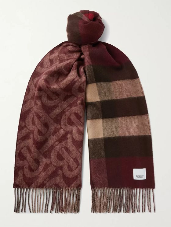 Burberry Reversible Fringed Cashmere-Jacquard Scarf
