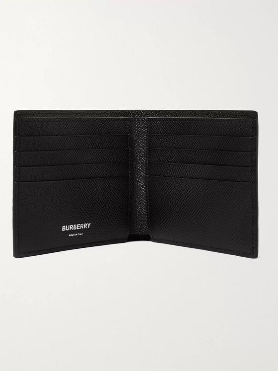 BURBERRY Striped Full-Grain Leather Billfold Wallet