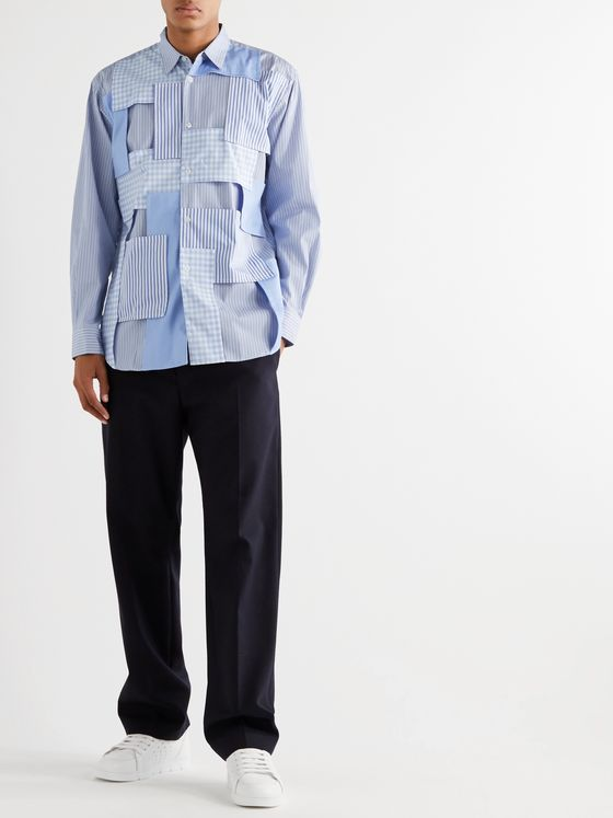 Comme des Garçons SHIRT Patchwork-Panelled Striped Cotton-Poplin Shirt