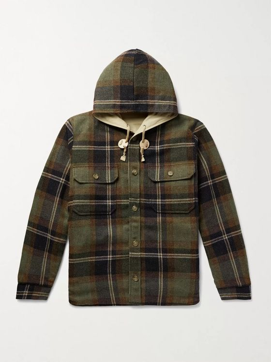 BEAMS PLUS CPO Reversible Checked Cotton-Blend Twill and Flannel Hooded Jacket