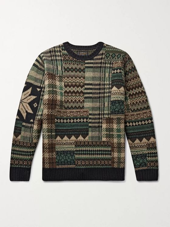 BEAMS PLUS Wool-Blend Jacquard Sweater