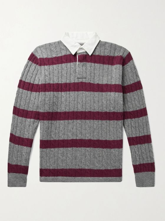 Beams Plus Twill-Trimmed Striped Cable-Knit Wool-Blend Sweater