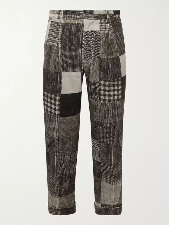 Beams Plus Cropped Tapered Patchwork Printed Cotton-Blend Corduroy Trousers