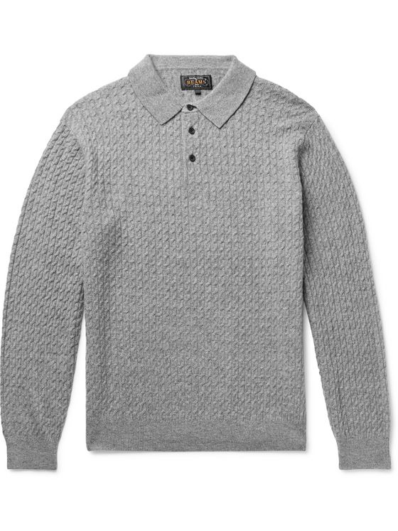 Beams Plus Cable-Knit Wool-Blend Polo Shirt