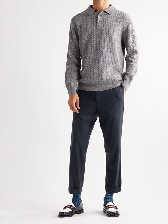 BEAMS PLUS Slim-Fit Cropped Checked Wool-Blend Trousers