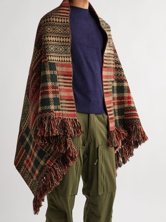 Beams Plus Fringed Wool-Blend Jacquard Poncho