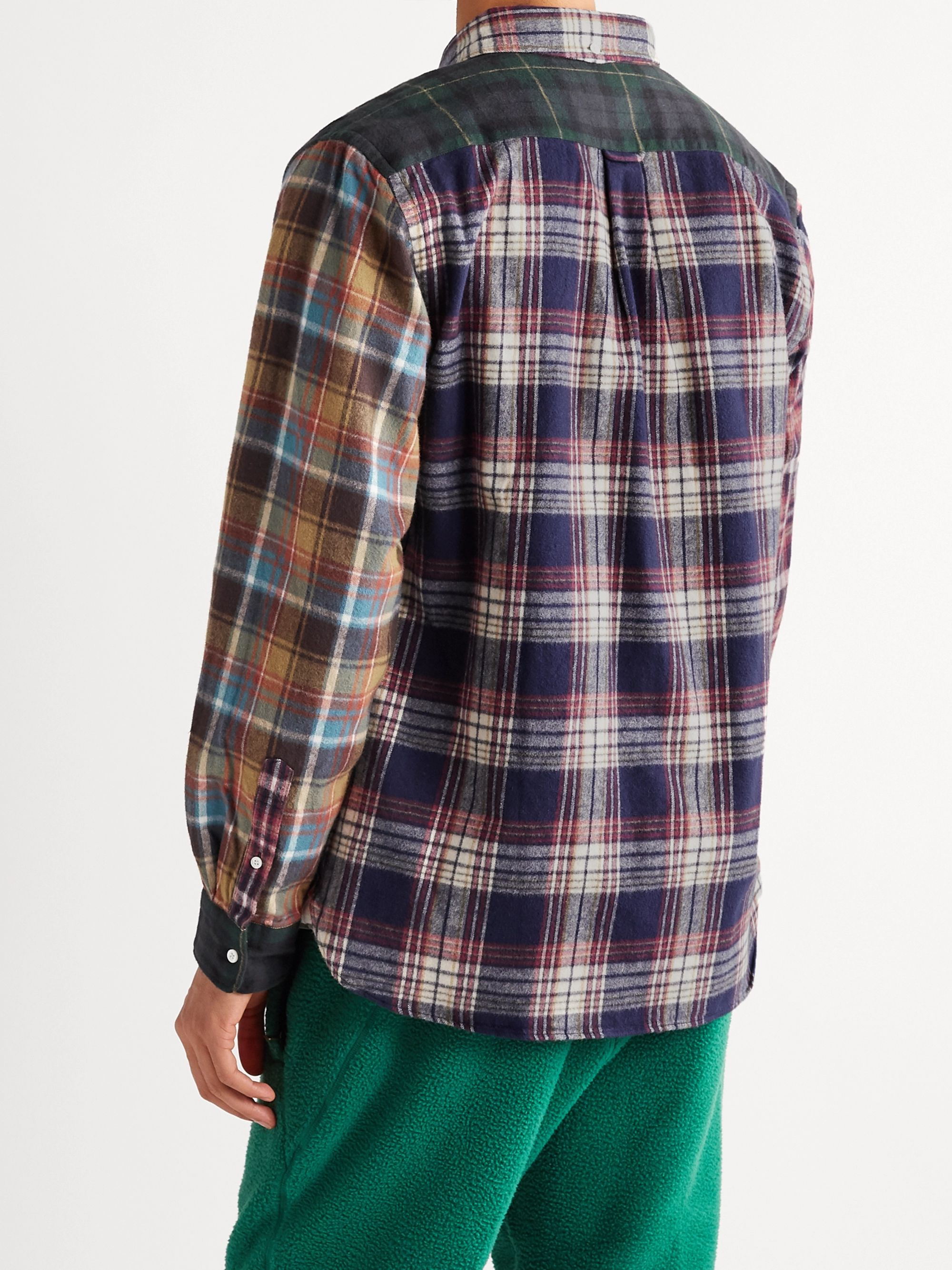 Beams Plus Button-Down Collar Checked Patchwork Cotton-Flannel Shirt