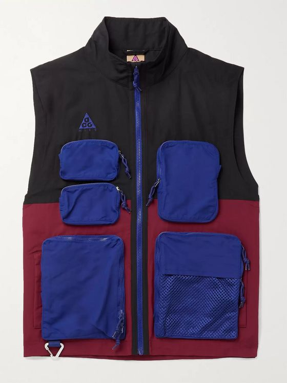 NIKE ACG NRG Logo-Embroidered Mesh-Trimmed Colour-Block Nylon Gilet