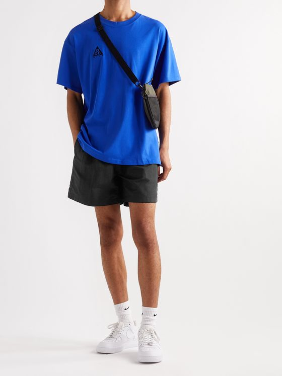 NIKE ACG Wide-Leg Logo-Embroidered Belted Nylon Shorts
