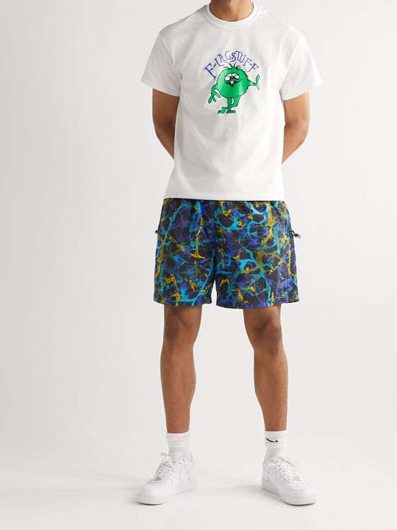 NIKE ACG NRG Logo-Embroidered Belted Printed Nylon Shorts