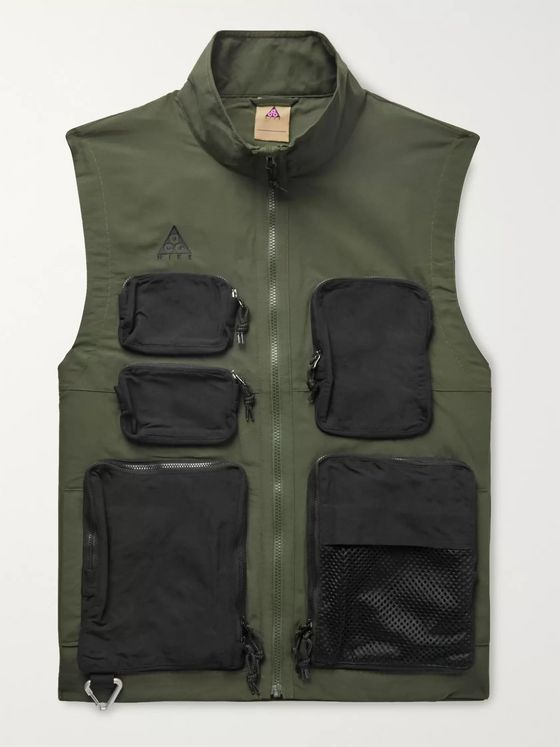 Nike Logo-Embroidered Mesh-Trimmed Nylon Gilet