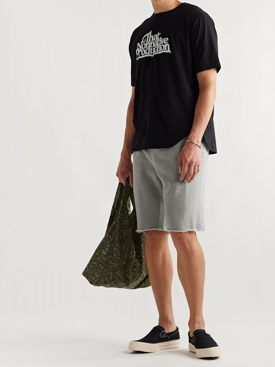 nonnative Coach Frayed Mélange Loopback Cotton-Blend Jersey Drawstring Shorts