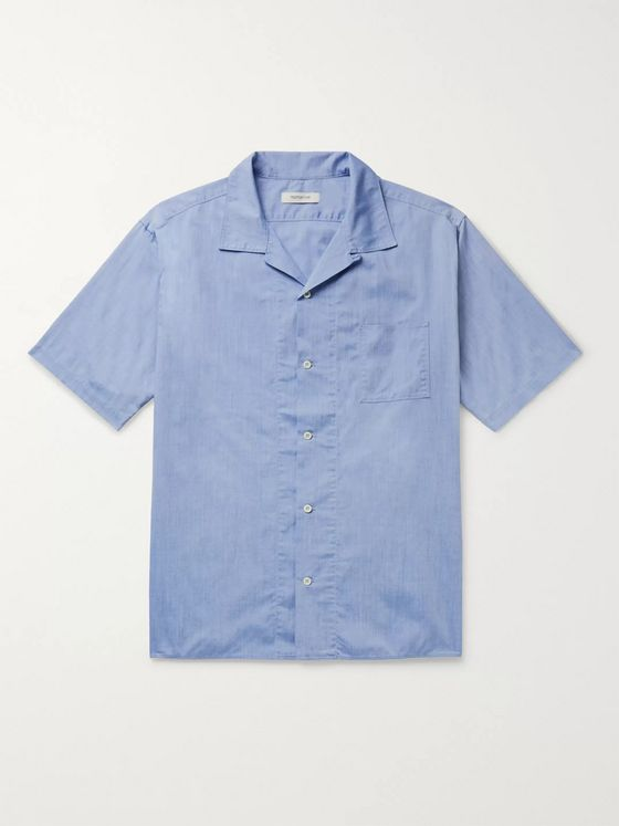 nonnative Camp-Collar COOLMAX Cotton-Blend Chambray Shirt