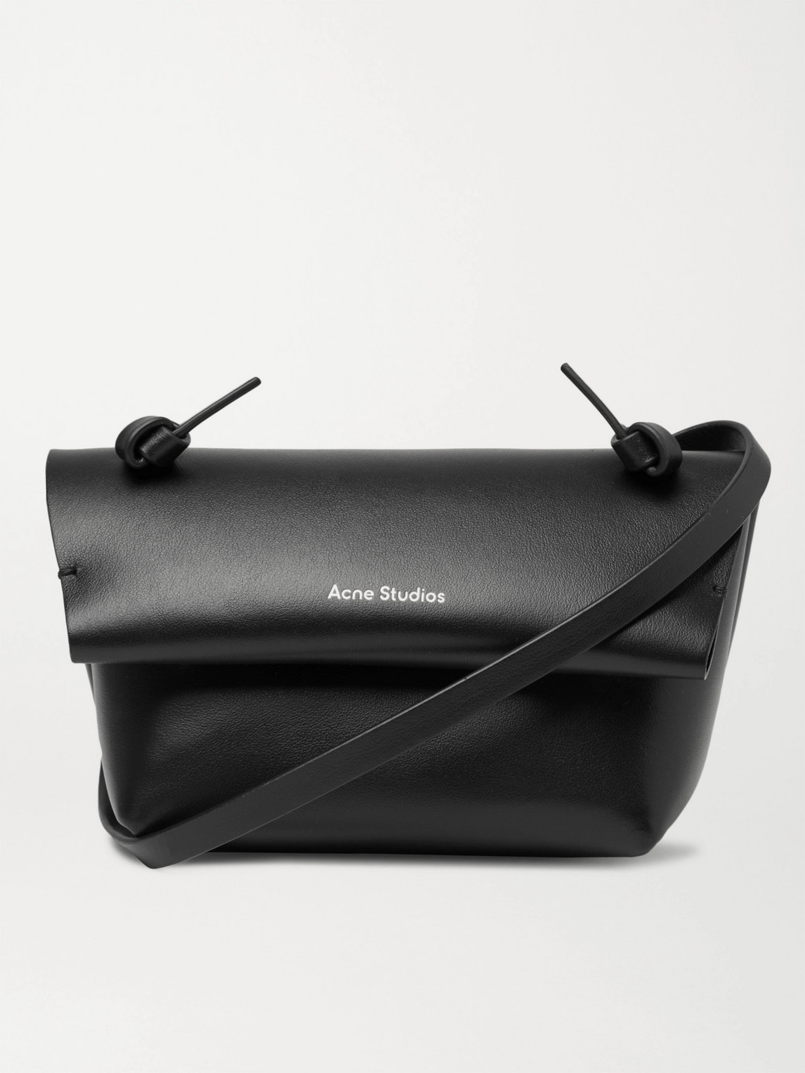 acne studios - small leather messenger bag - men - black