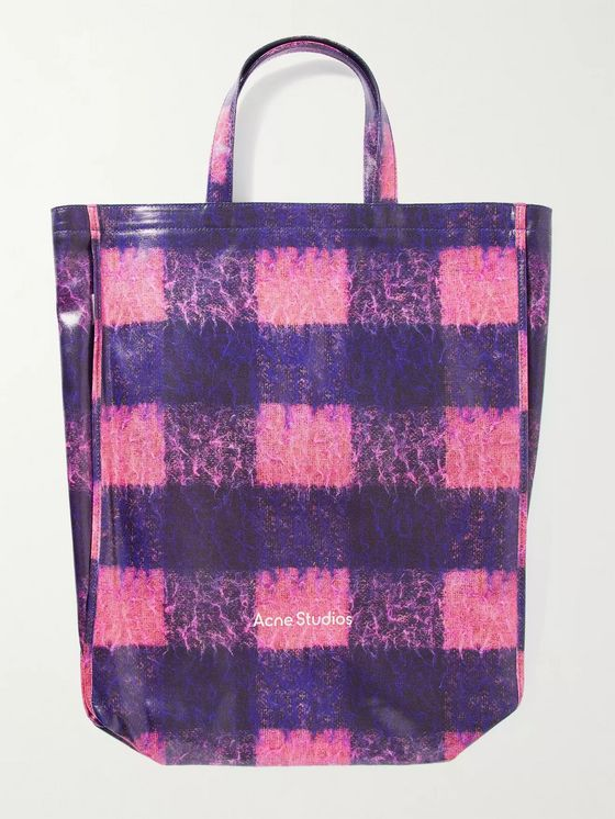 ACNE STUDIOS Checked Coated-Canvas Tote Bag