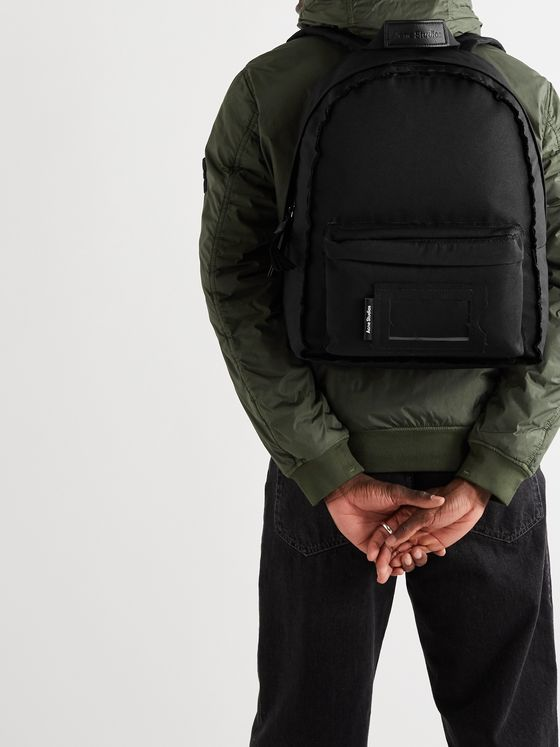 Acne Studios Leather-Trimmed Canvas Backpack