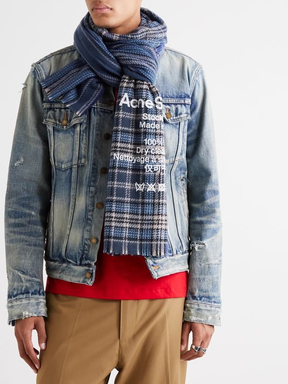ACNE STUDIOS Logo-Print Fringed Checked Wool Scarf