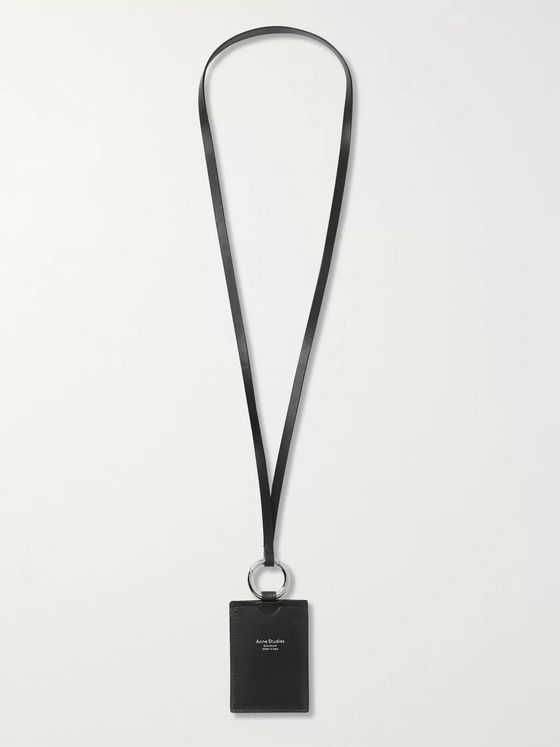 ACNE STUDIOS Logo-Print Leather Cardholder with Lanyard