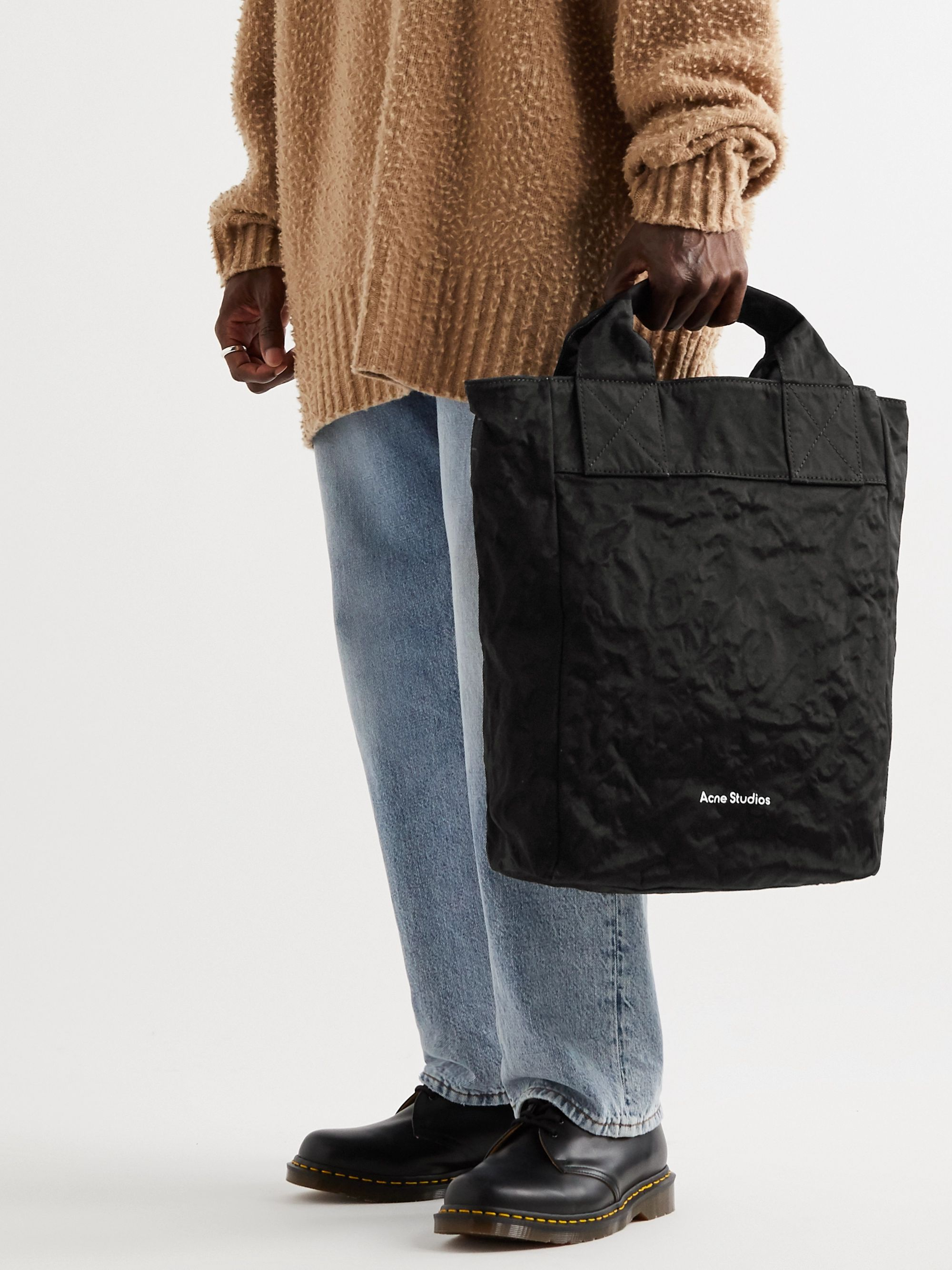 Acne Studios Crinkled Cotton and Nylon-Blend Tote Bag