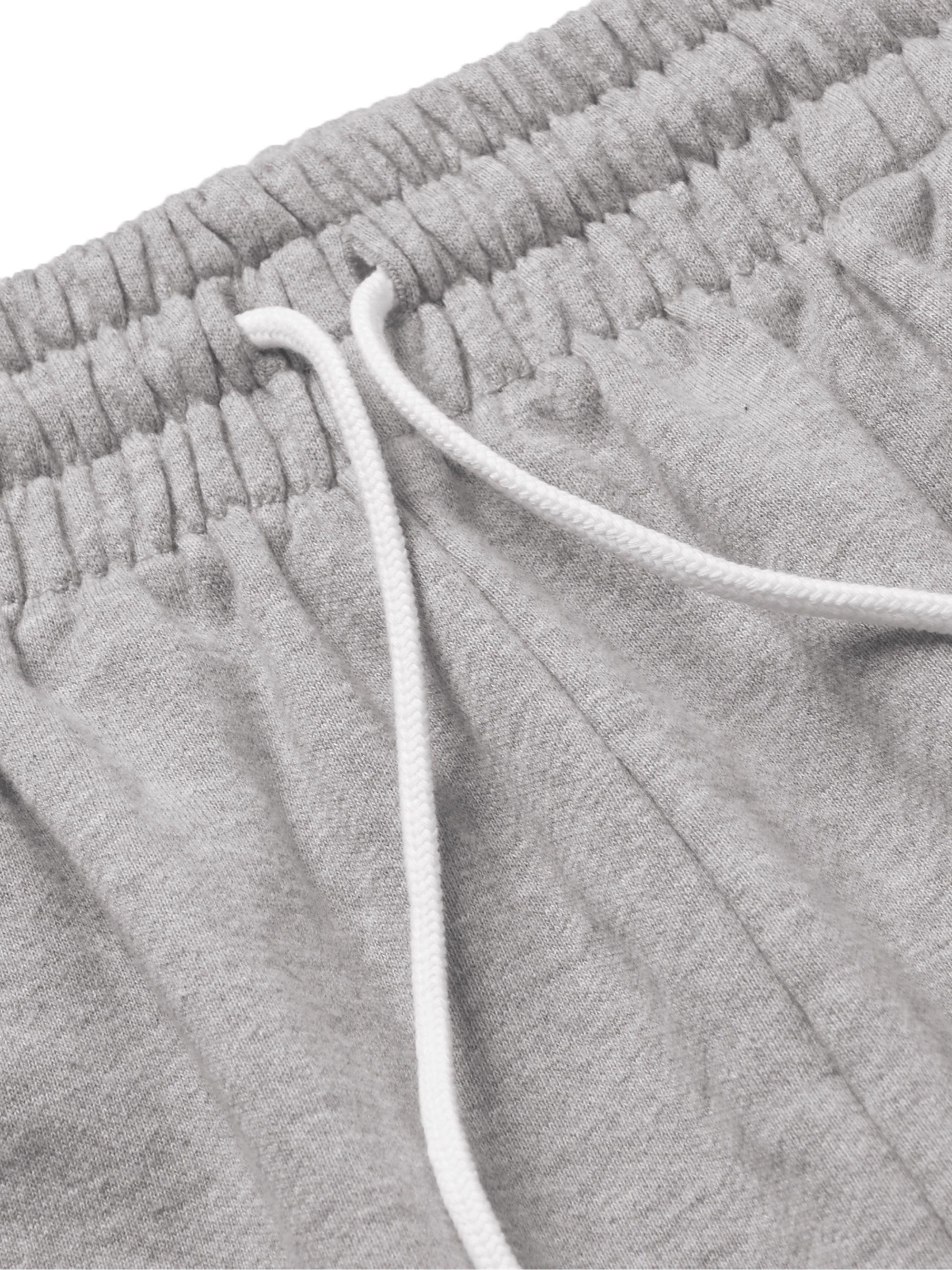 Gray Logo-appliquéd Mélange Loopback Cotton-jersey Drawstring Shorts | Maison Kitsuné