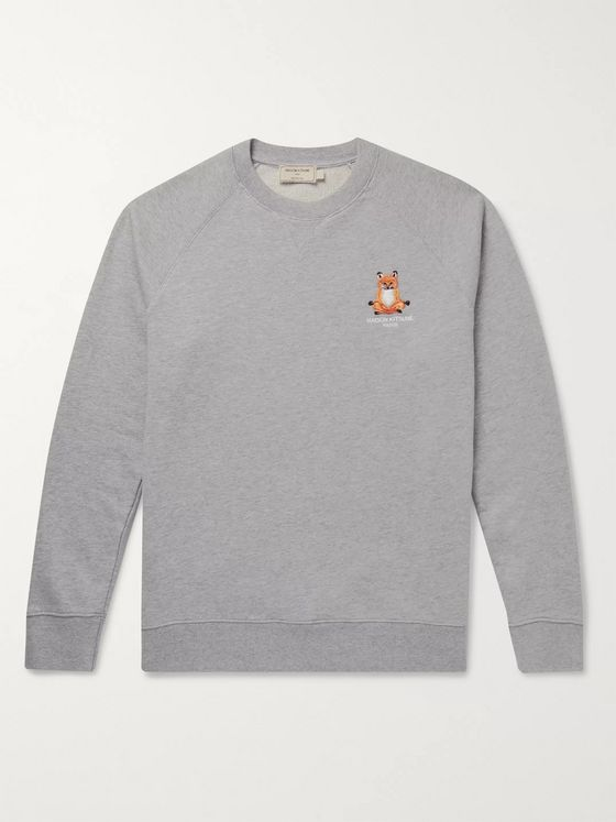 Maison Kitsuné Logo-Embroidered Loopback Cotton-Jersey Sweatshirt