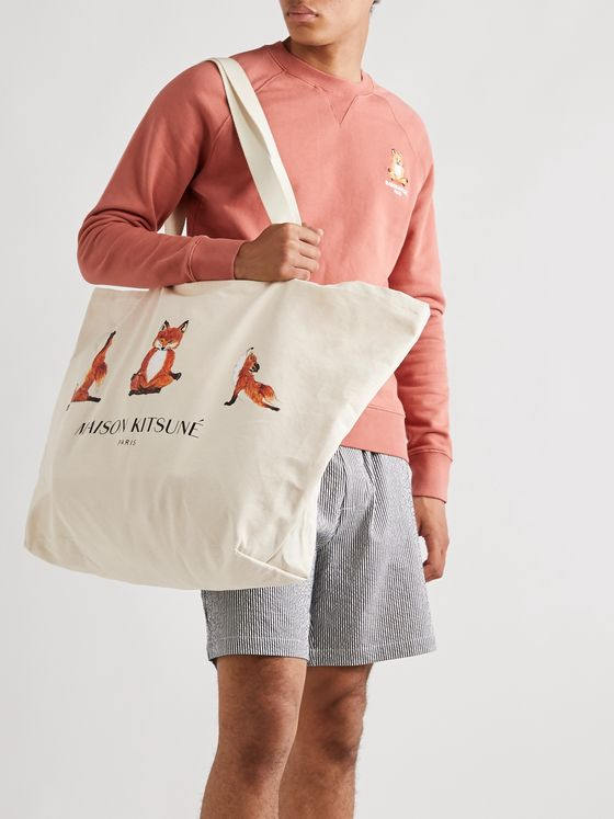 Maison Kitsuné XXL Logo-Print Cotton-Canvas Tote Bag