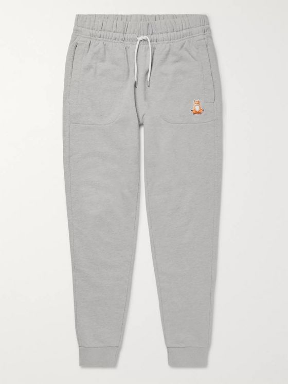 Maison Kitsuné Slim-Fit Logo-Appliquéd Loopback Cotton-Jersey Sweatpants