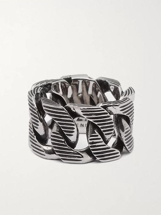 ALEXANDER MCQUEEN Burnished Silver-Tone Ring