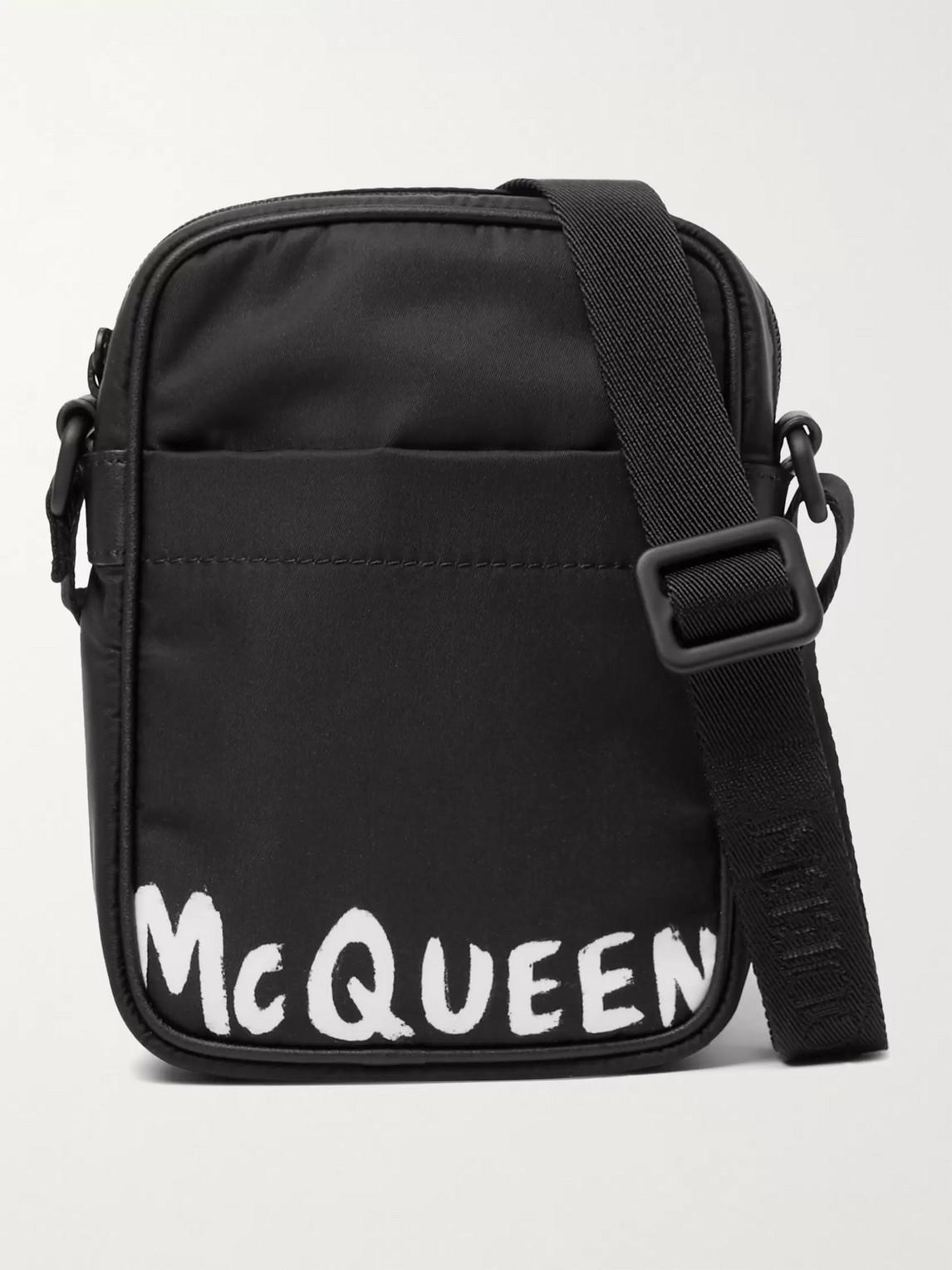 Alexander Mcqueen Logo-print Nylon Messenger Bag In Black