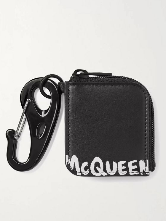 ALEXANDER MCQUEEN Logo-Print Leather AirPods Case