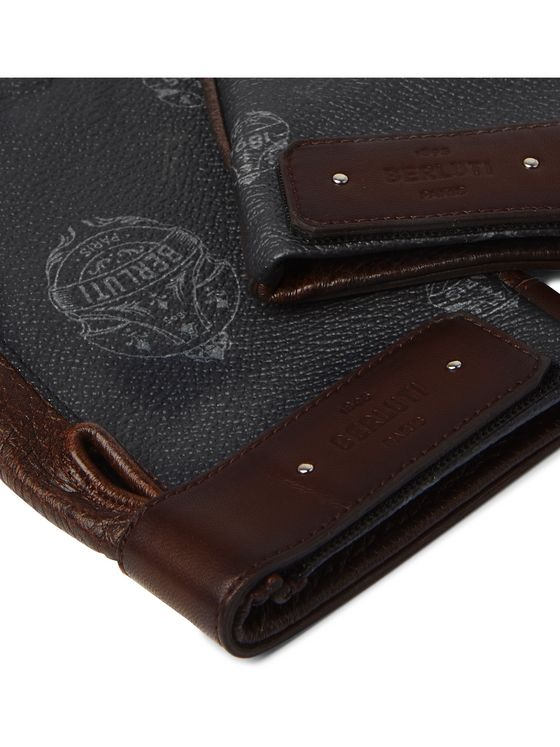 BERLUTI Logo-Print Full-Grain Leather Gloves