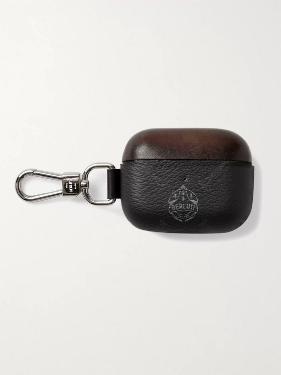 BERLUTI Logo-Print Leather AirPod Case