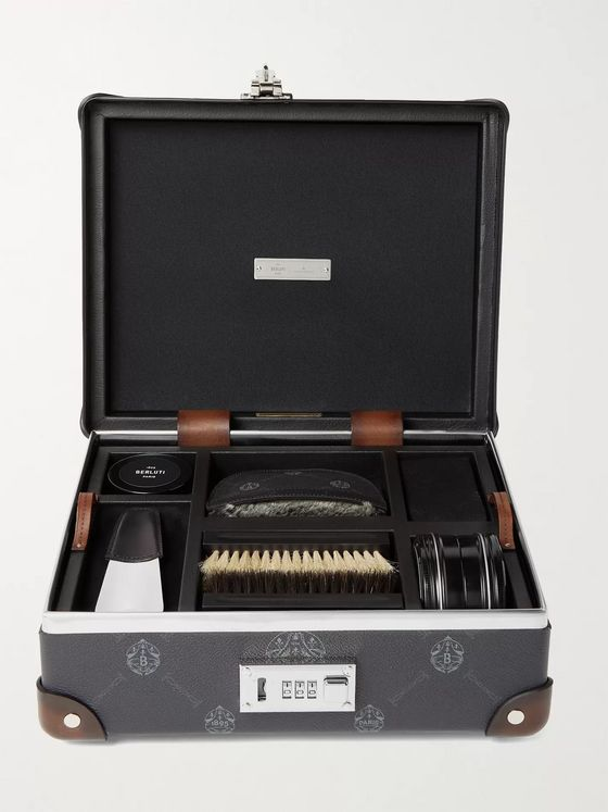 Berluti + Globe-Trotter Shoe Repair Kit with Venezia Leather-Trimmed Virée Canvas Case