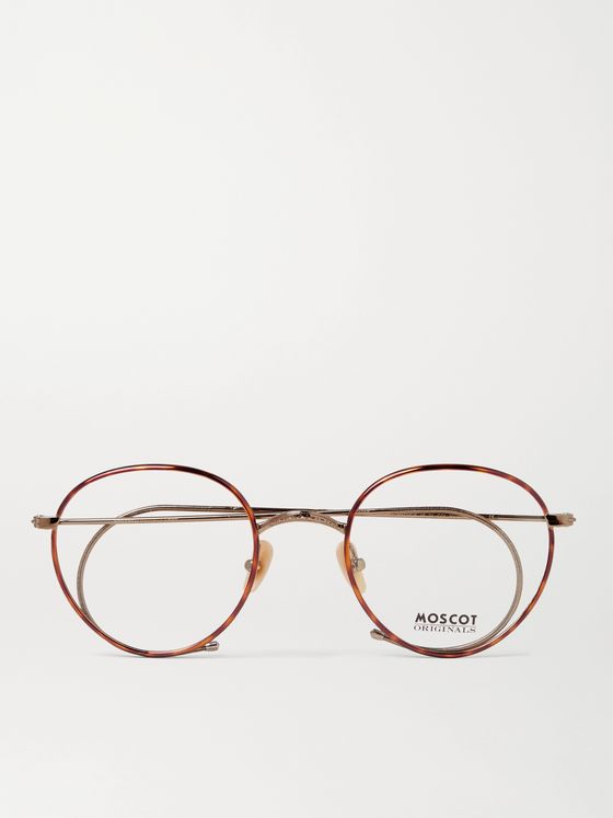 Moscot Round-Frame Tortoiseshell Acetate and Gold-Tone Optical Glasses