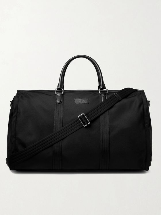 POLO RALPH LAUREN Convertible Leather-Trimmed Nylon Holdall and Garment Bag