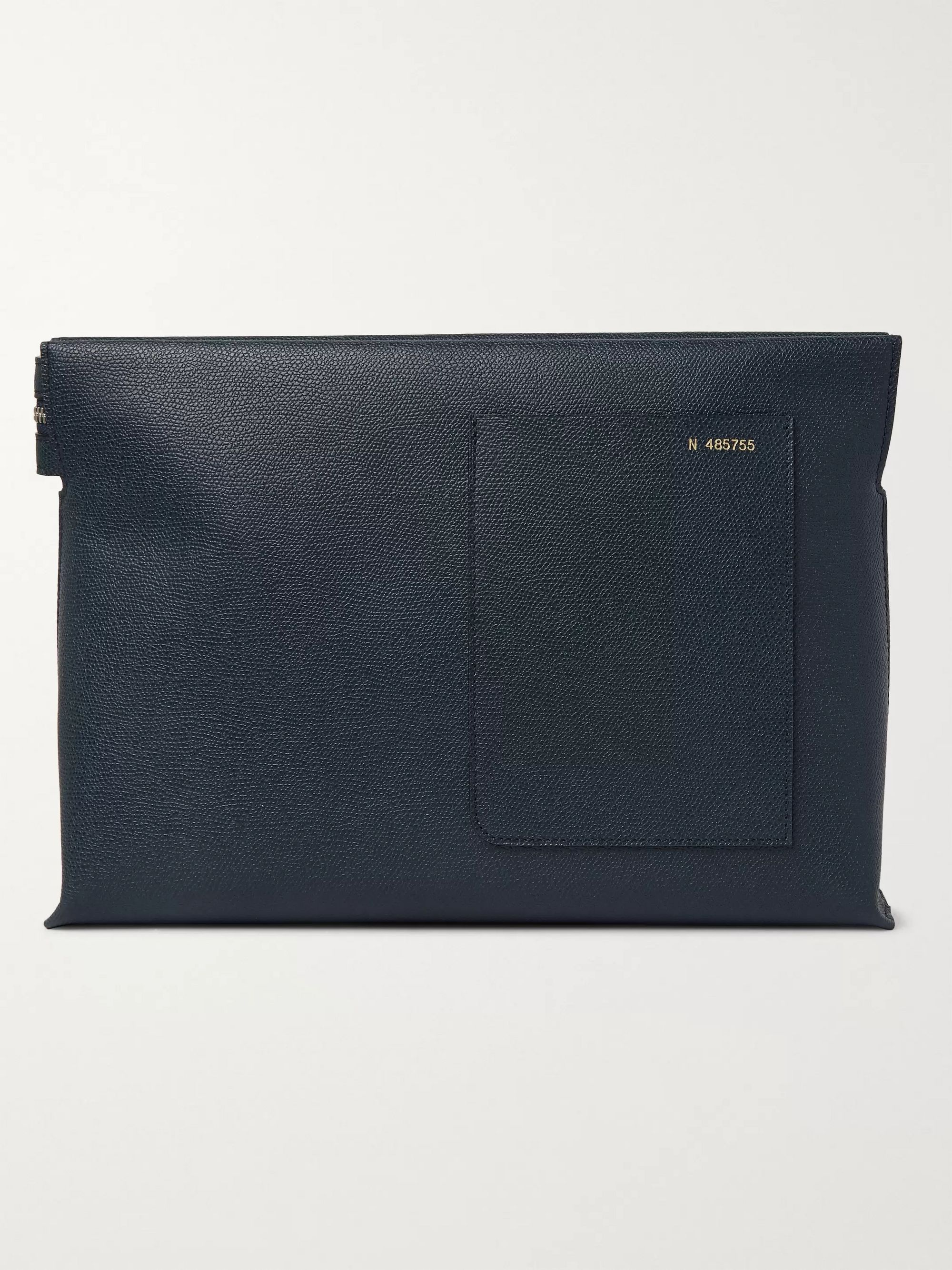 Valextra Pebble-Grain Leather Pouch