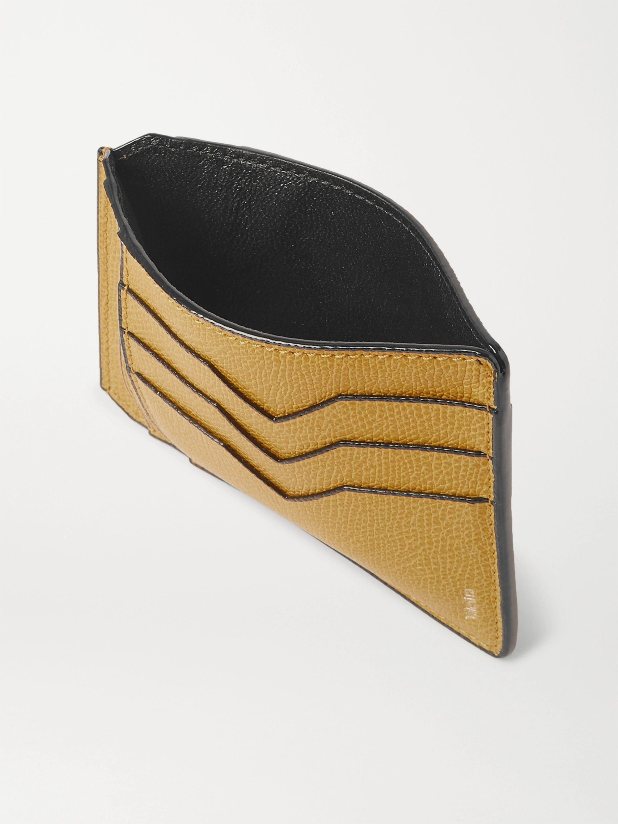 Yellow Pebble-grain Leather Cardholder | Valextra
