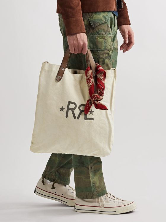 RRL Leather-Trimmed Logo-Print Cotton-Canvas Tote Bag