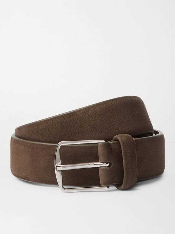 LORO PIANA 3cm Dark-Brown Nubuck Belt