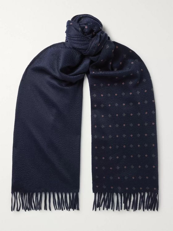 Loro Piana Fringed Printed Cashmere Scarf